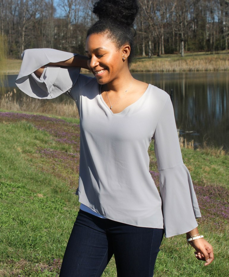 Gray Flutter Sleeve and Jeans-11