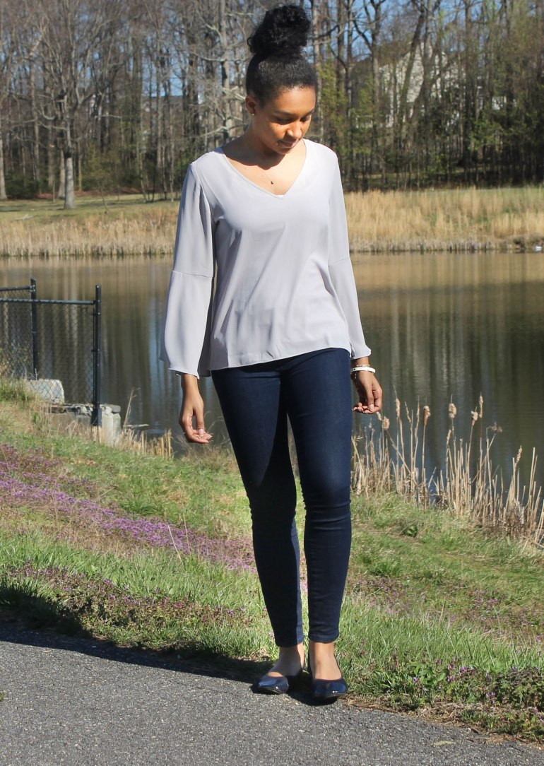 Gray Flutter Sleeve and Jeans-2