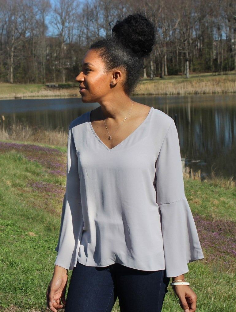 Gray Flutter Sleeve and Jeans-7